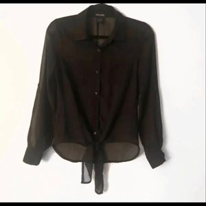 Wet Seal 2 button down black shirt size small